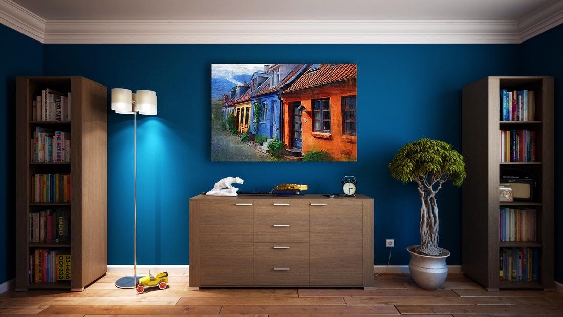 interieur appartement bleu