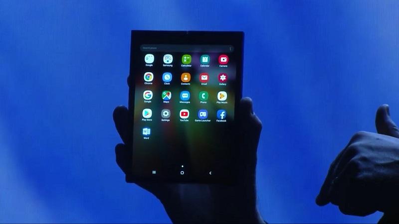 samsung galaxy F smartphone pliable